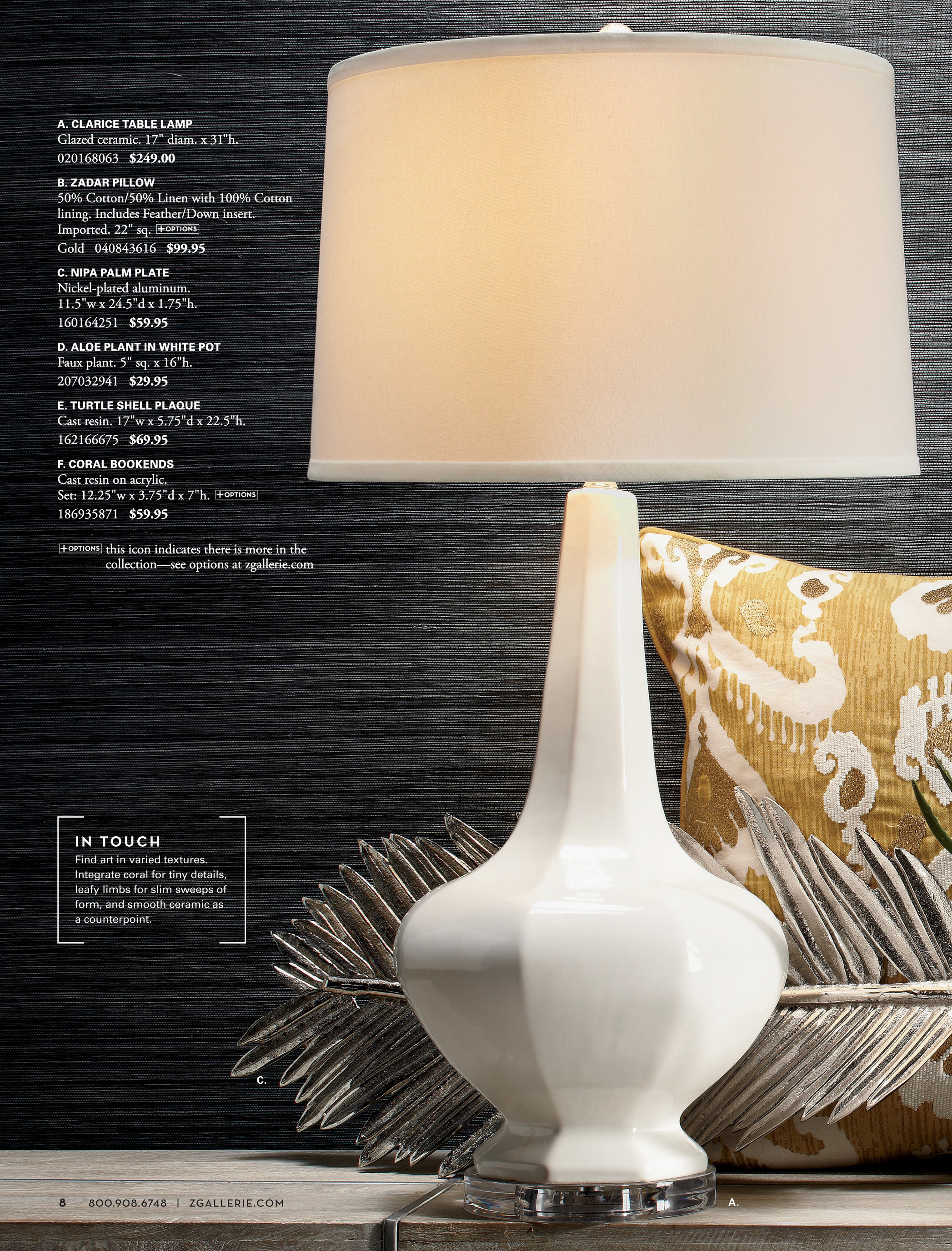 Z Gallerie Art Is In The Details Sabrina Table Lamp