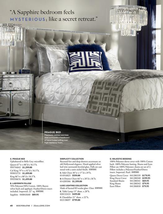 z gallerie bedroom.  A Sapphire bedroom feels M Y S T E R I O U like a secret retreat F J B G H C PRAGUE BED Q N L D P K Z Gallerie Live In Color Page 48 49