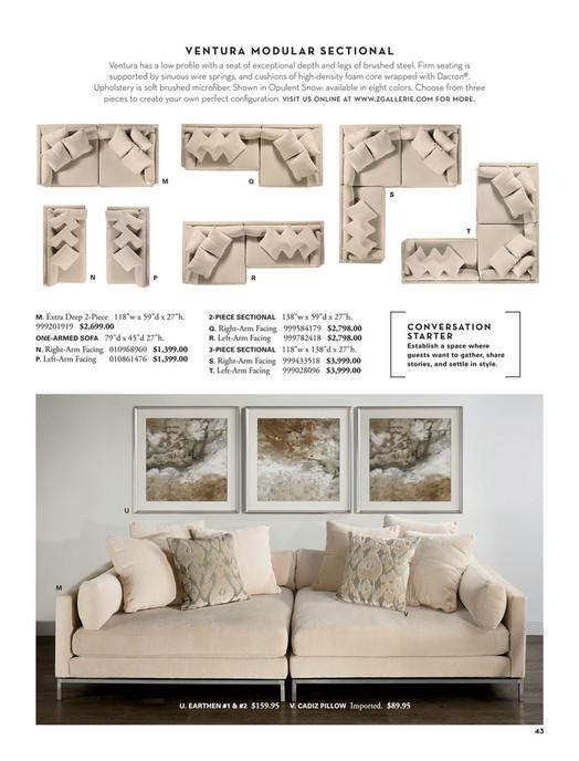 z gallerie - all set for summer - ventura extra deep sofa - 2 pc