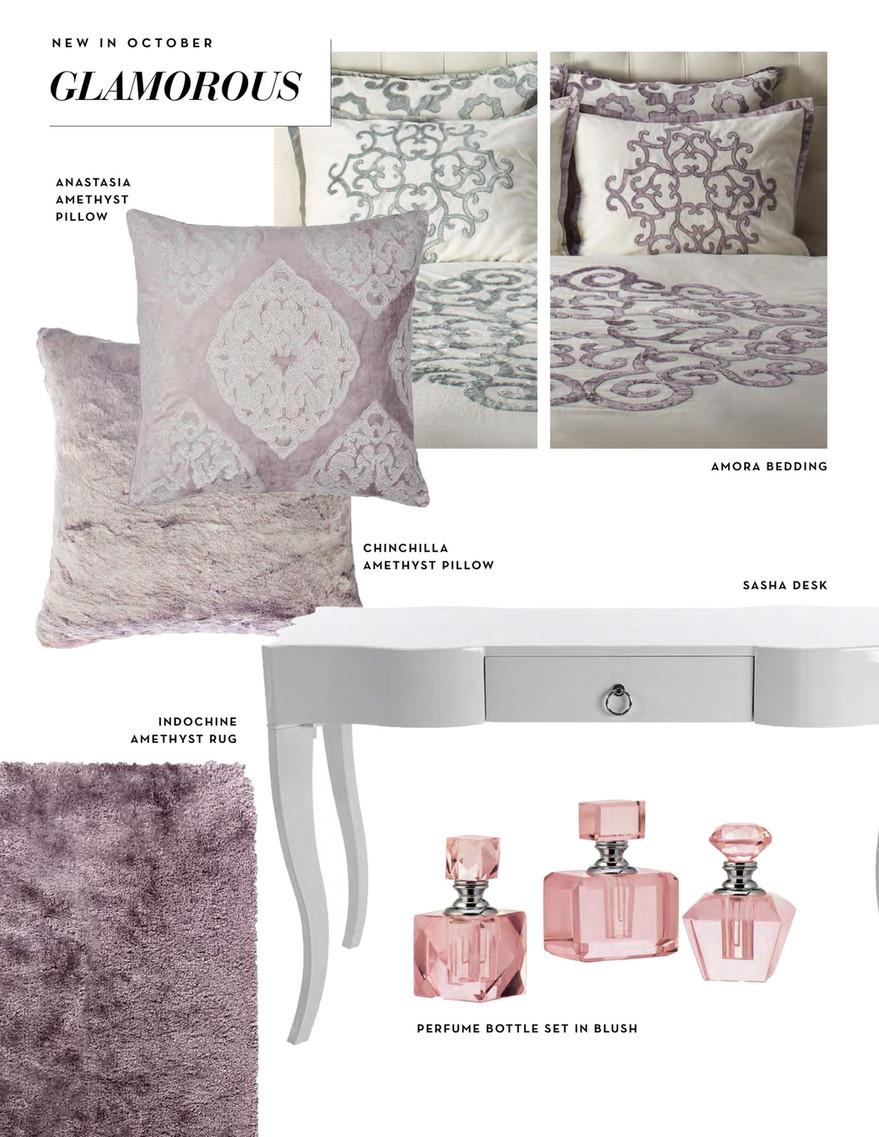 New In October Glamorous Anastasia Amethyst Pillow Amora Bedding Chinchilla Sasha Desk Indochine