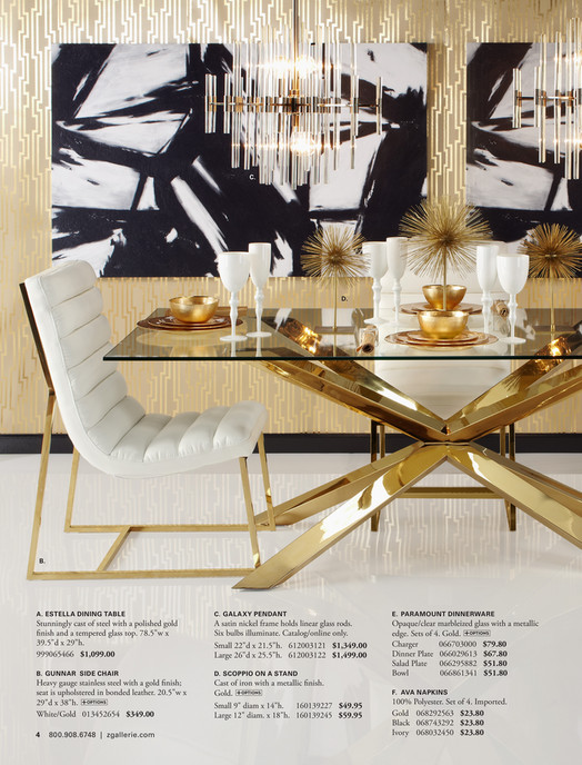 C D B A ESTELLA DINING TABLE GALAXY PENDANT E PARAMOUNT DINNERWARE Stunningly Cast Of Steel F G